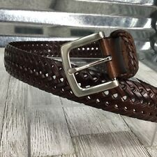 Vegan Brown Braided Mens Western Dress Belt Silver Buckle Size 40
