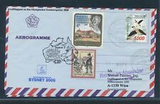 09655) Lauda Olympiade So-LP Wien - Sydney 15.9.2000, Aerogramm Indonesien bird