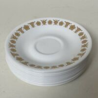"""Set of 12 Vintage Corelle Corning 6 1/4"""" Butterfly Gold Saucer Plates"""