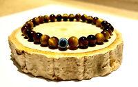 Evil Eye Protection Charm Natural Stone Black Onyx Tigers Eye Bead Bracelet Wrap