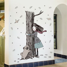 Autumn Girl Hug Tree Room Home Decor Removable Wall Sticker Decal Decoration