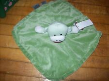 Sock Monkey lovey green  Personalized green  Lovey fleece lovey 12x12