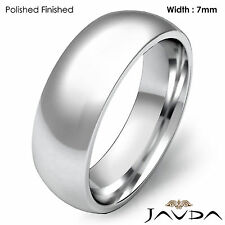 14k Gold White 7mm Men Plain Comfort Dome Wedding Band Solid Ring 11.5g 12-12.75