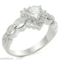 Ladies Clear Stone Heart .925 Sterling Silver Ring New