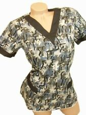 New Women Nursing Scrubs Blue Gray Camouflage Poly/Cotton Top Size S