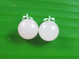 100% GENUINE sterling silver ROSE QUARTZ 10mm BALL Studs Earring Women Girl Teen