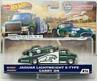 Hot Wheels Mint Loose Team Transport Jaguar Lightweight E-Type with Real Riders