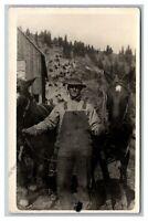 Connell, WA Washington? Farmer w/ Team of 2 Horses CYKO RPPC Postcard 1904-20's