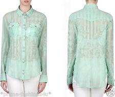 Balmain   Light Green color Long Sleeves Semitransparent  Blouse Shirts