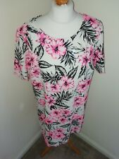 NEW LOOK IVORY WITH PINK BLACK FLORAL DRESS - UK Size 14