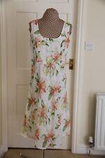 White Size 14 White Orange Green Tea Dress Scoop neck sleeveless Hardly worn