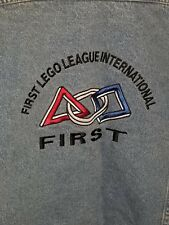 Lee First Lego League International Denim Jacket Mens XL Jean Jacket Embroidered