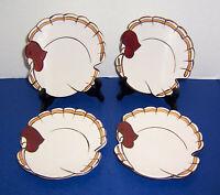 Pottery Barn 4 Gobble Salad Dessert Plates Turkey Shaped Thanksgiving Excellent