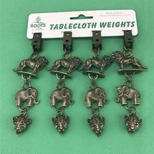 Tablecloth Weights Roots of Creation Heavy Brass Lion, Elephant, and Leopard