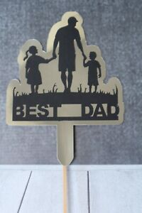Best Dad Cake Topper for Birthday's Fathers Day Handmade Gold Mirror Card