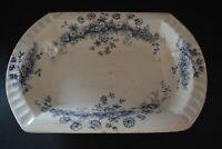 Parisian Granite Princess W. Adams & Co England Blue Ironstone Vegetable Bowl