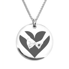 Couple Hand Holding Heart Laser Engraved Stainless Steel Necklace Gift for wife