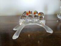 Swarovski Baby Lovebirds Pappagallini sul trespolo 2008 crystal cristallo