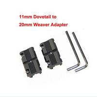 2 x 11mm Dovetail to 20mm Weaver Picatinny Rail Converter Adapter Base bn GX