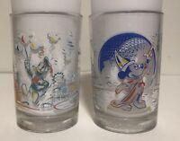 "Set of 2 McDonalds 25th Anniversary Walt Disney World 5"" Glasses"