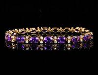 15Ct Oval Cut Amethyst & Diamond Vintage Tennis Bracelet 14k Rose Gold Finish