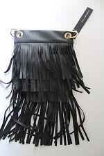 NWT Stella & Jamie Rock Vegan Leather Tiered Fringe Small CrossBody Purse Bag