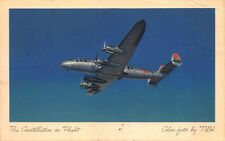 Postcard TWA Trans World Airlines Constellation Airplane in Flight~115946