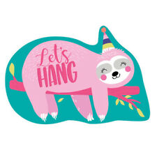 SLOTH BIRTHDAY INVITATION SET (8) ~ Party Supplies Stickers Stationery Teal Pink