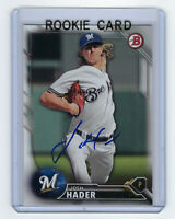 2016 BREWERS Josh Hader signed ROOKIE card Bowman #BD-157 Autographed AUTO RC