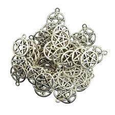 50x Redondo Estrella Pentáculo Colgante Collar pendiente de aleación encantos base Hágalo usted mismo Craft