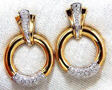 .80ct natural diamonds circular knocker deco earrings 14kt