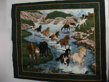 "Wall Hanging Fabric,Wild Horse Panel,""Wild Horses At Thunder Ridge"",43"" X 36"""