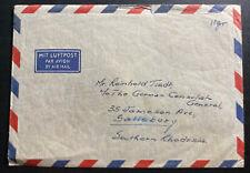 1954 Djeddah Saudi Arabia Airmail Cover To Salisbury S Rhodesia Back Stamps