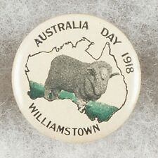 World War One Australia Day Williamstown 1918 Pinback Button Badge - very scarce