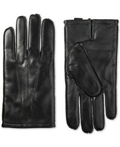 Isotoner Men's Gloves Black US Size Medium M Leather Insulated Solid $80 #288