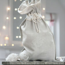LUXURY VINTAGE TAUPE FRENCH LINEN LAUNDRY SACK CHRISTMAS STOCKING  BAG WEDDING