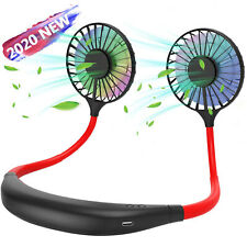 LED Portable USB Rechargeable Neckband Lazy Neck Hanging Dual Cooling Mini Fan