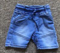 Matalan Baby Boys Pale Blue Denim Shorts Size 6-9 Months Good Condition !