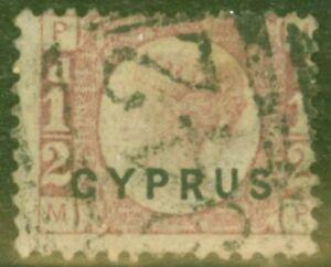 Cyprus 1880 1/2d Rose SG1 Pl 15 Fine Used