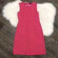 LANDS END Womens Dress Size 8 Ponte Knit Sleeveless Pink Lattice Print A-Line