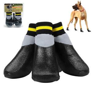 4pcs Waterproof Pet Dog Rain Shoes Booties Pet Puppy Anti-Slip Boots Shoes Black