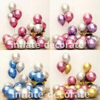 "20 PEARL LATEX METALLIC CHROME BALLOONS 10"" Helium Baloons Birthday Party UK"