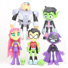 7Pcs/Set Teen Titans Pvc Action Figures Go Robin Cyborg Raven Beast Boy Kids Toy