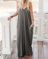 Zenana Premium Size XL Charcoal Gray Boho Pocket Maxi Dress Sleeveless