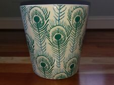 Peacock Feather Porcelain Trash Can Waste Basket Turquoise Aqua Blue Teal Green