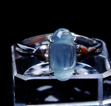 Natural Blue Aquamarine Gemstone  Bead Adjustable Ring silver13*6*5mm