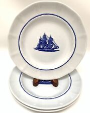 3 Wedgwood American Clipper Blue Red Jacket Salad Plates 8 1/4""