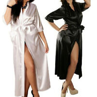 Women Long  Kimono Dressing Gown Bath Robe Babydoll Lingerie Nightdress FO