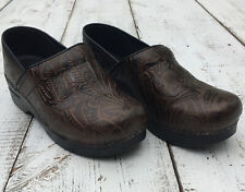 DANSKO Brown Leather Tooled Women's Size 39 EU 8.5 US Floral Comfort Clogs