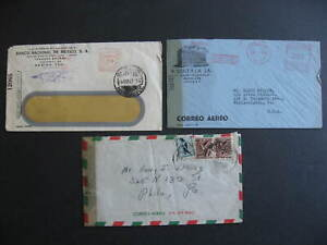 Mexico 3 WWII censored covers 1 cover opened on 3 sides